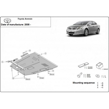 Toyota Avensis (cover under the engine) - Metal sheet