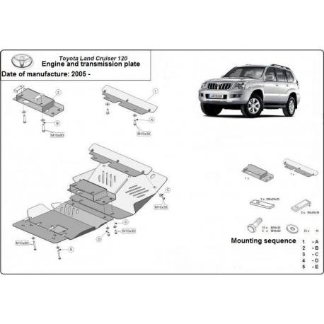 Toyota Land Cruiser 120 kryt pod motor 3.0D, 4.2D - Plech