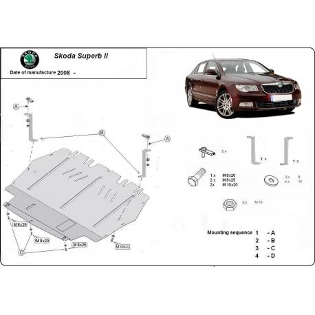 Skoda SuperB II (cover under the engine) 1.8, 2.0TFSI quattro, 2.0TDi - Metal sheet