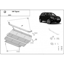 VW Tiguan (cover under the engine) 1.4, 1.6, 2.0TDi - Metal sheet