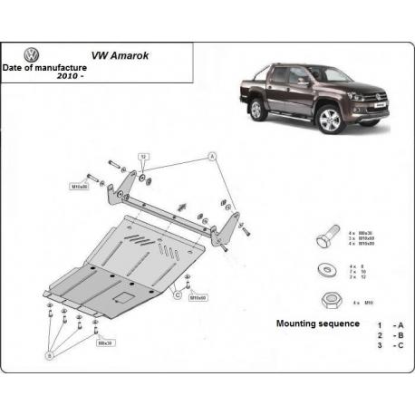 VW Amarok kryt pod motor 2.0, 2.2, 2.5TDi, 4x4 - Plech