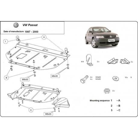 VW Passat B5 (cover under the engine) 1.6, 1.8, 1.9TDi - Metal sheet