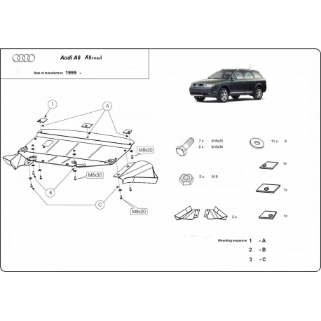 Audi Allroad (cover under the engine) - Metal sheet
