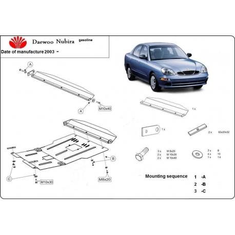 Daewoo Nubira II (cover under the engine) 1.6, 2.0 - Metal sheet