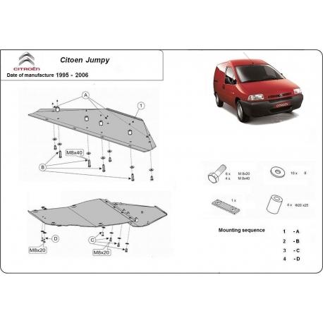 Citroen Jumpy kryt pod motor 1.8, 1.9D, 1.9TD, 2.0HDI, 2.3JTD, 2.5TD, 2.8JTD - Plech