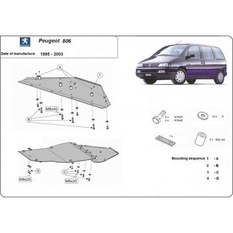 Peugeot 806 (cover under the engine) 1.8, 1.9D, 1.9TD, 2.0HDI, 2.3JTD, 2.5TD, 2.8JTD - Metal sheet