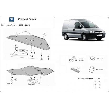 Peugeot Expert (cover under the engine) 1.8, 1.9D, 1.9TD, 2.0HDI, 2.3JTD, 2.5TD, 2.8JTD - Metal sheet