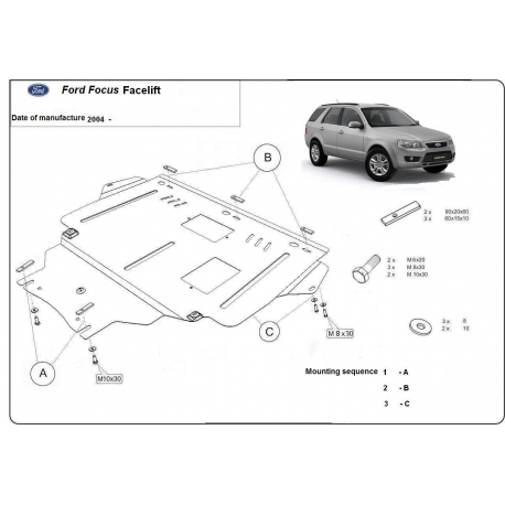 Ford Facelift (cover under the engine) 1.4, 1.6, 1.6TD, 2.0, 2.0TD - Metal sheet