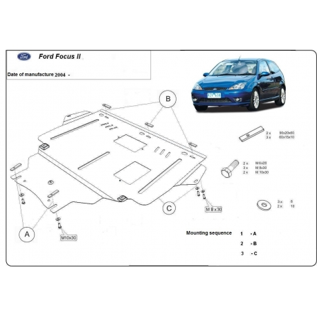 Ford Focus II (cover under the engine) 1.4, 1.6, 1.6TD, 2.0, 2.0TD - Metal sheet
