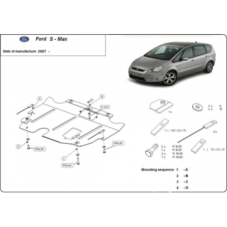 Ford S-Max (cover under the engine) 1.8, 2.0, 2.2TDi - Metal sheet