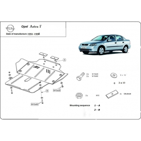 Opel Astra F (cover under the engine) - Metal sheet