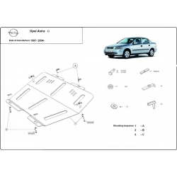 Opel Astra G (cover under the engine) 1.4, 1.7D, 2.0 - Metal sheet