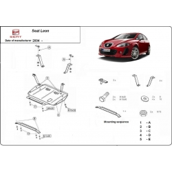 Seat Leon (cover under the engine) 1.8, 2.0, 1.9TD - Metal sheet