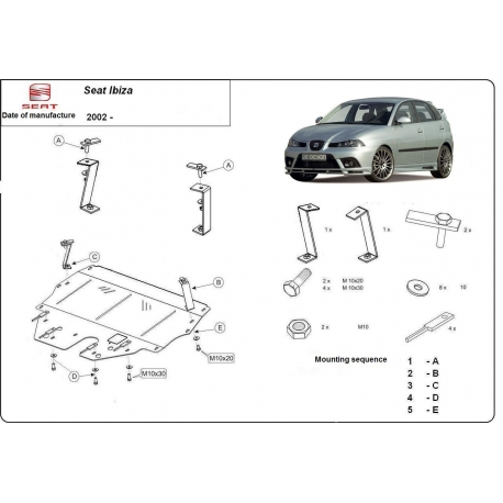 Seat Ibiza (cover under the engine) 9N, 1.2, 1.4, 1.9TDi - Metal sheet