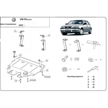 VW Pointer kryt pod motor 9N, 1.2, 1.4, 1.9TDi - Plech