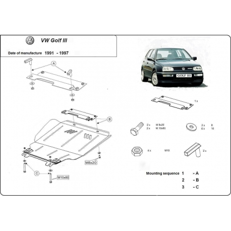 VW Golf 3 (cover under the engine) 1.4, 1.6, 1.9D - Metal sheet