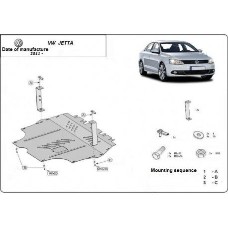 VW Jetta kryt pod motor 1.2, 1.4TSI, 1.6, 2.0TDi - Plech