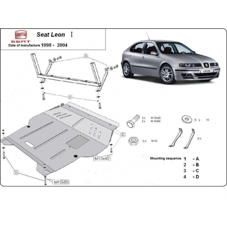 Seat Leon (cover under the engine) 1.6, 2.0, 1.9TD - Metal sheet