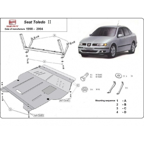 Seat Toledo (cover under the engine) 1.6, 2.0, 1.9TD - Metal sheet