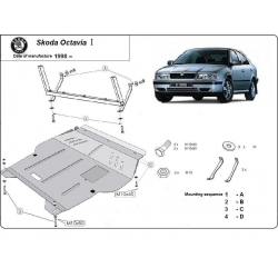 Skoda Octavia I (cover under the engine) 1.6, 2.0, 1.9TD - Metal sheet