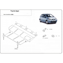 Toyota Aygo (cover under the engine) 1.0, 1.4HDi - Metal sheet
