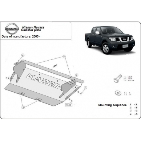Nissan Pathfinder (cover under the cooler) 2.5 dCi (4WD), 4.0 (4WD) - Metal sheet