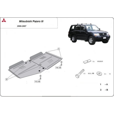 Mitsubishi Pajero III (V60, V70) (cover under the transmission) 3.5 Gdi, 2.5 Tdi, 3.2 Di-d - Metal sheet