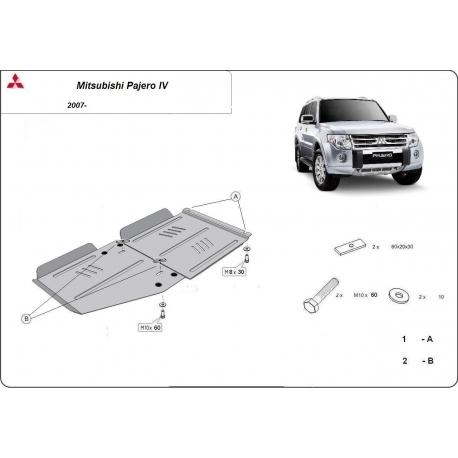 Mitsubishi Pajero IV (V80, V90) kryt pod převodovku 3.8, 3.2 Di-D - Plech