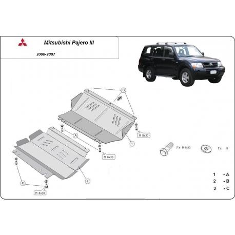 Mitsubishi Pajero III (V60, V70) (cover under the engine) 3.5 Gdi, 2.5 Tdi, 3.2 Di-d - Metal sheet