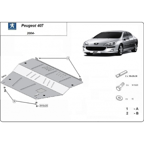 Peugeot 407 (cover under the engine) - Metal sheet