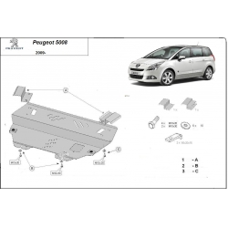 Peugeot 5008 (cover under the engine) 1.6MT - Metal sheet