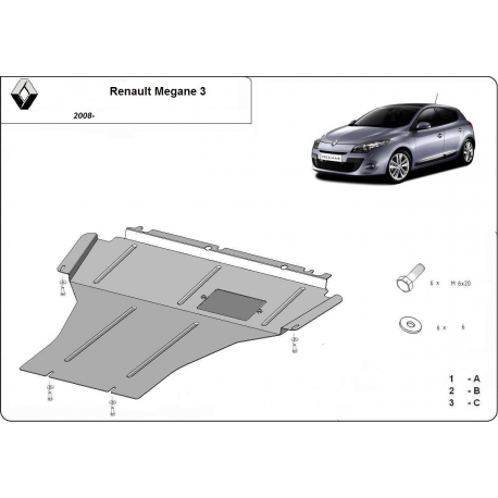 Renault Megane III (cover under the engine) 1.5Dci - Metal sheet