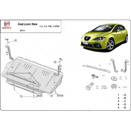 Seat Leon (cover under the engine) 1.2, 1.4 Tsi, 1.6 Tdi - Metal sheet