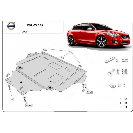 Volvo C30 (cover under the engine) 1.4, 1.6, 1.8, 2.0, B+ Tdi - Metal sheet