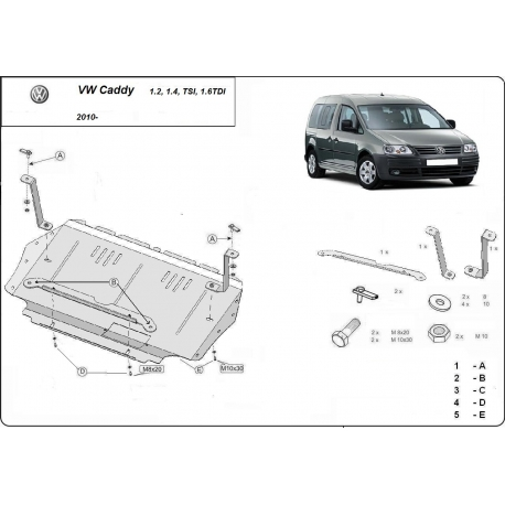 VW Caddy (cover under the engine) - Metal sheet