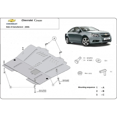 Chevrolet Cruze (cover under the engine) - Metal sheet