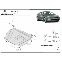 Citroen C5 (cover under the engine) 1.8, 2.0, 3.0, HDI - Metal sheet