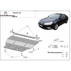 Citroen C5 (cover under the engine) 1.6, 1.8, 2.0, HDI - Metal sheet