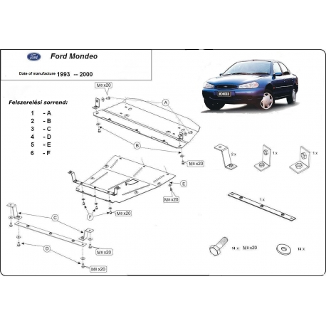 Ford Mondeo I-II (cover under the engine) 1.8, 2.0 - Metal sheet