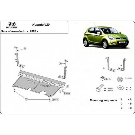 Hyundai i20 (cover under the engine) 0.9, 1.1, 1.2, 1.4TDi - Metal sheet