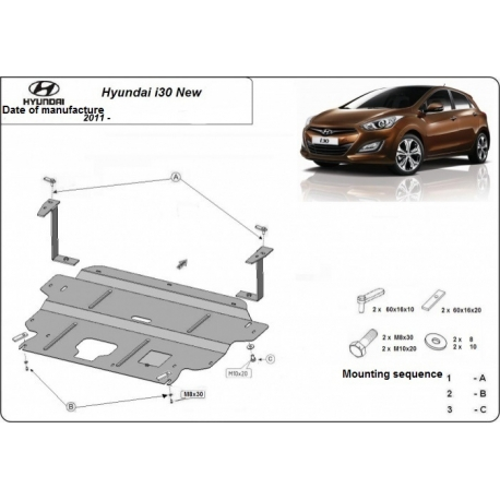 Hyundai i30 (cover under the engine) 1.4, 1.5, 1.6 - Metal sheet