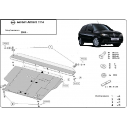 Nissan Almera Tino (cover under the engine) 1.6, 1.8, 2.0, 2.2 - Metal sheet