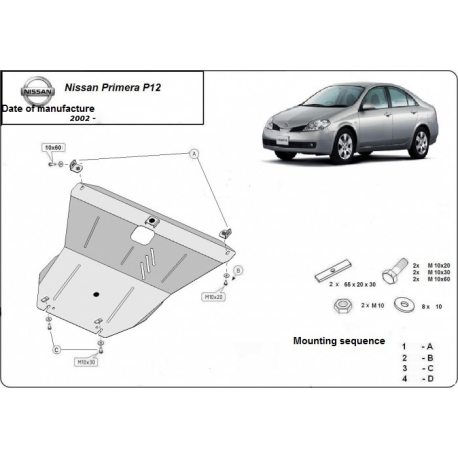 Nissan Primera P12 (cover under the engine) 1.6, 1.8, 2.0 - Metal sheet