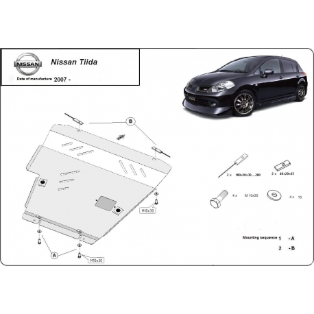 Nissan Tiida (cover under the engine) 1.6 - Metal sheet