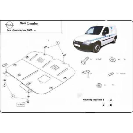 Opel Combo (cover under the engine) 1.3 - Metal sheet