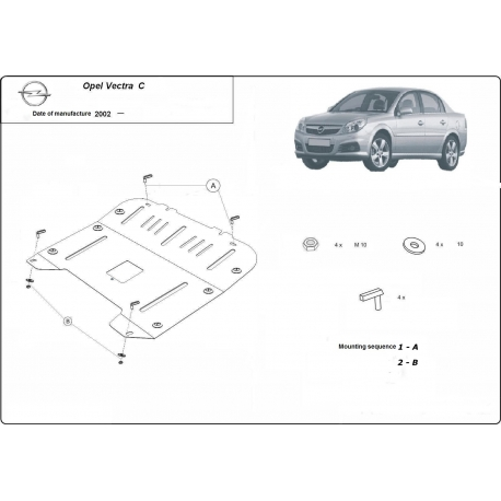 Opel Vectra C (cover under the engine) - Metal sheet