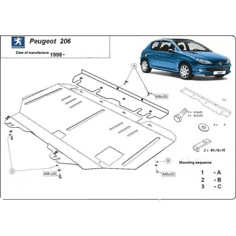 peugeot 206 cover under the engine 1 1 1 4 1 4d 1 6 2 0 1 9d metal sheet. Black Bedroom Furniture Sets. Home Design Ideas