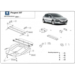 Peugeot 307 (cover under the engine) 1.4, 1.4HDi, 1.6, 1.6HDi, 2.0, 2.0HDi - Metal sheet