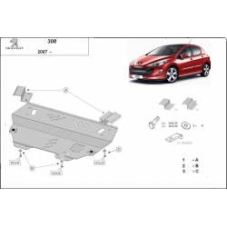Peugeot 308 kryt pod motor 1.4, 1.4HDi, 1.6, 1.6HDi, 2.0, 2.0HDi - Plech