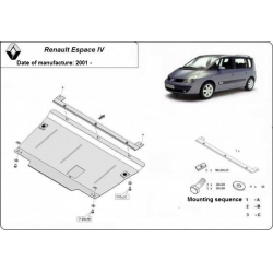 Renault Espace IV (cover under the engine) 1.6, 1.8, 1.9dCi, 2.0dCi, 2.2dCi, 3.0V6 - Metal sheet